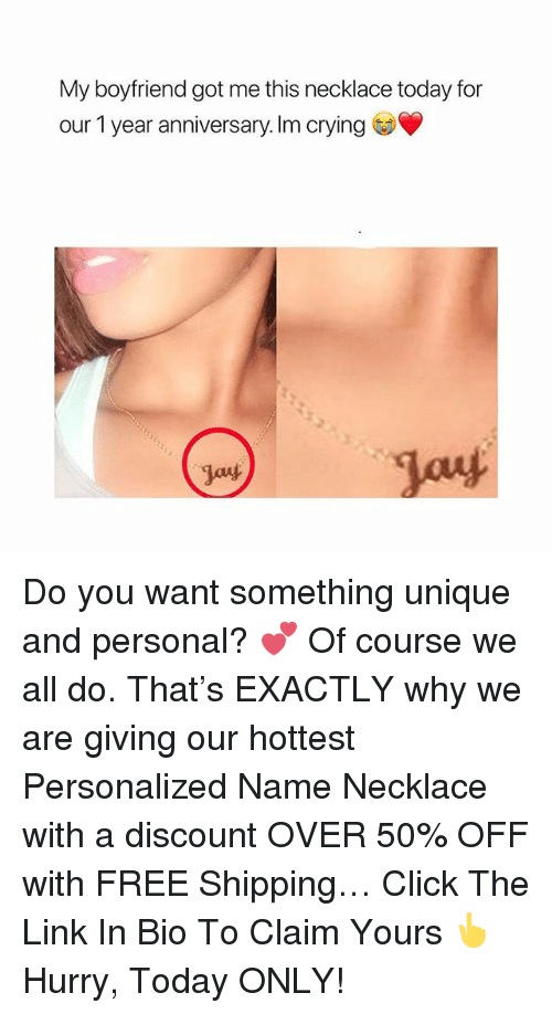 Click, Crying, and Free: My boyfriend got me this necklace today for  our 1 year anniversary. Im crying  Jant Do you want something unique and personal? 💕 Of course we all do. That's EXACTLY why we are giving our hottest Personalized Name Necklace with a discount OVER 50% OFF with FREE Shipping… Click The Link In Bio To Claim Yours 👆 Hurry, Today ONLY!