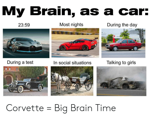 Corvette: My Brain, as a car:  Most nights  During the day  23:59  During a test  Talking to girls  In social situations Corvette = Big Brain Time