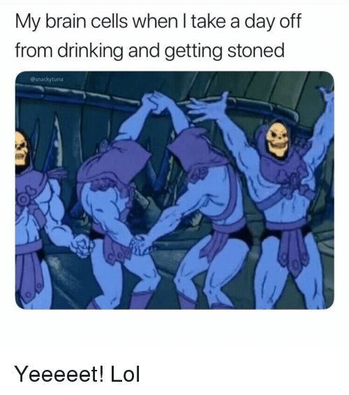 Drinking, Funny, and Lol: My brain cells when l take a day off  from drinking and getting stoned  @snackytuna Yeeeeet! Lol