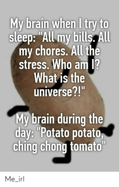 "the universe: My brain when I try to  sleep: ""All my bills. All  my chores. All the  stress. Who am I?  What is the  universe?!""  My brain during the  day: ""Potato potato,  ching chong tomato""  II Me_irl"