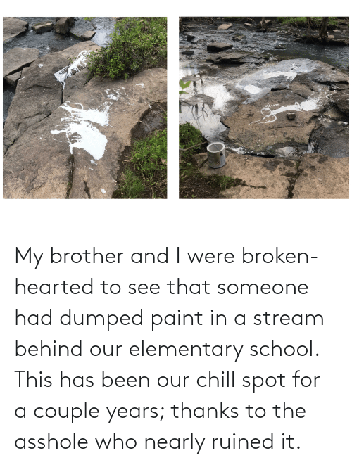 broken hearted: My brother and I were broken-hearted to see that someone had dumped paint in a stream behind our elementary school. This has been our chill spot for a couple years; thanks to the asshole who nearly ruined it.