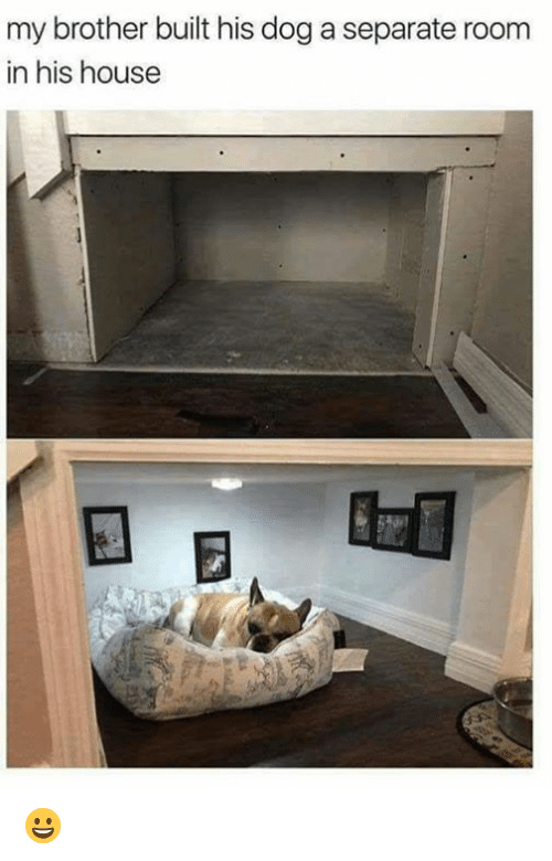 Dank, House, and 🤖: my brother built his dog a separate room  in his house 😀
