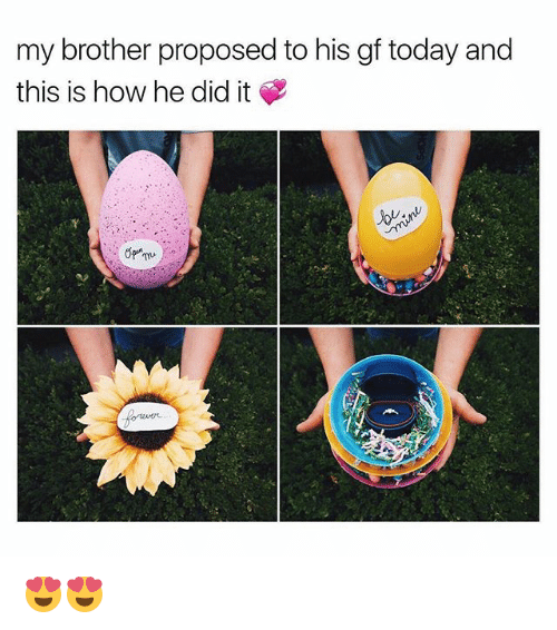 Memes, Today, and 🤖: my brother proposed to his gf today and  this is how he did it 😍😍