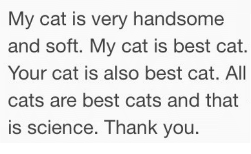 Best Cat: My cat is very handsome  and soft. My cat is best cat.  Your cat is also best cat. All  cats are best cats and that  is science. Thank you.