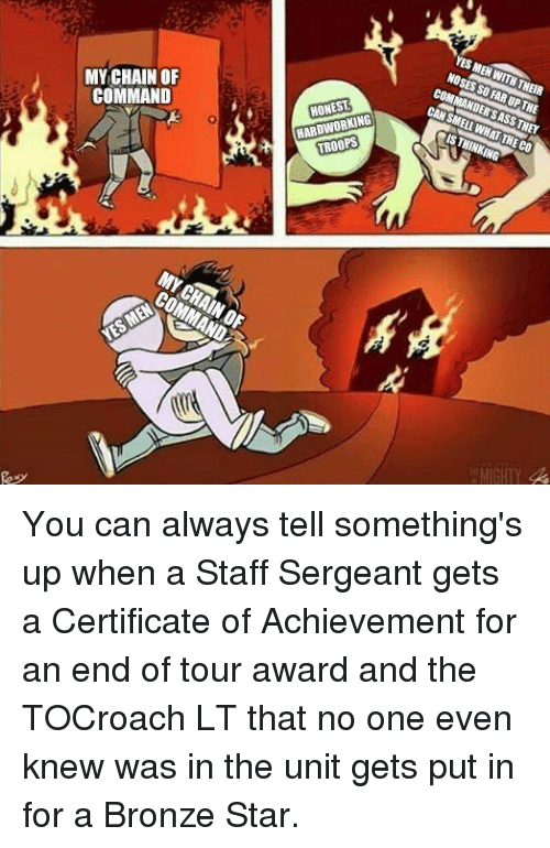 Chain Of Command: MY CHAIN OF  COMMAND  HONEST  HARDWORKING  TROOPS You can always tell something's up when a Staff Sergeant gets a Certificate of Achievement for an end of tour award and the TOCroach LT that no one even knew was in the unit gets put in for a Bronze Star.