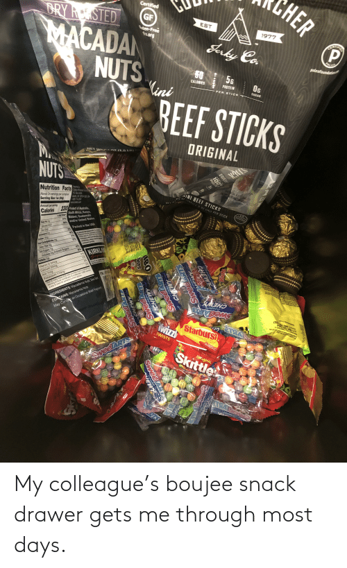 Boujee: My colleague's boujee snack drawer gets me through most days.