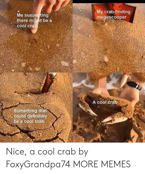 crab: My crab-finding  megascooper  Me suspecting  there might be a  cool crab  A cool crab  Something that  could definitely  be a cool crab Nice, a cool crab by FoxyGrandpa74 MORE MEMES
