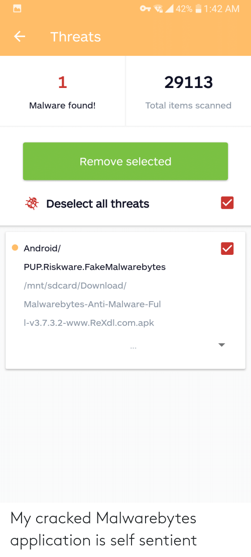 Cracked: My cracked Malwarebytes application is self sentient