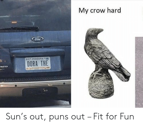 puns: My crow hard  sINDIANA  DORA THE Sun's out, puns out – Fit for Fun