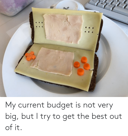 I Try: My current budget is not very big, but I try to get the best out of it.