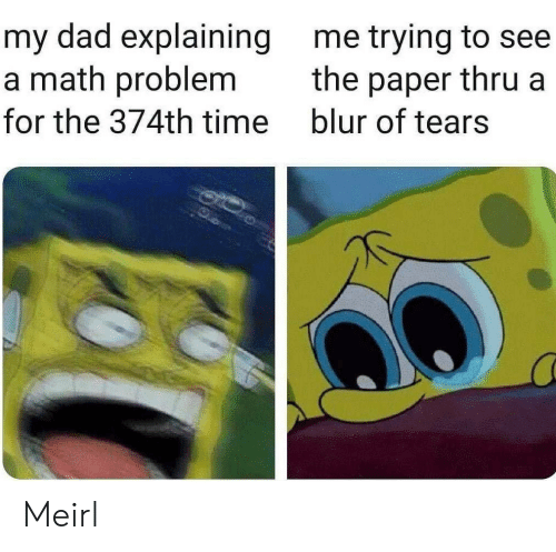 math problem: my dad explaining  a math problem  me trying to see  the paper thru a  blur of tears  for the 374th time Meirl