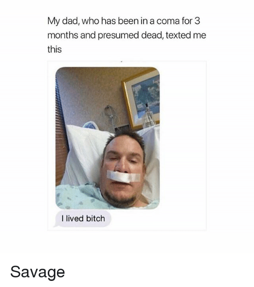 Bitch, Dad, and Memes: My dad, who has been in a coma for 3  months and presumed dead, texted me  this  I lived bitch Savage