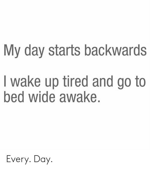 go to bed: My day starts backwards  I wake up tired and go to  bed wide awake. Every. Day.