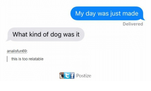 Dank, Relatable, and 🤖: My day was just made  Delivered  What kind of dog was it  analisfun69  this is too relatable  Postize
