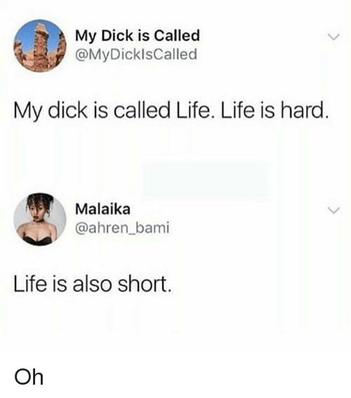 Life, Memes, and Dick: My Dick is Called  @MyDicklsCalled  My dick is called Life. Life is hard  Malaika  @ahren_bami  Life is also short. Oh