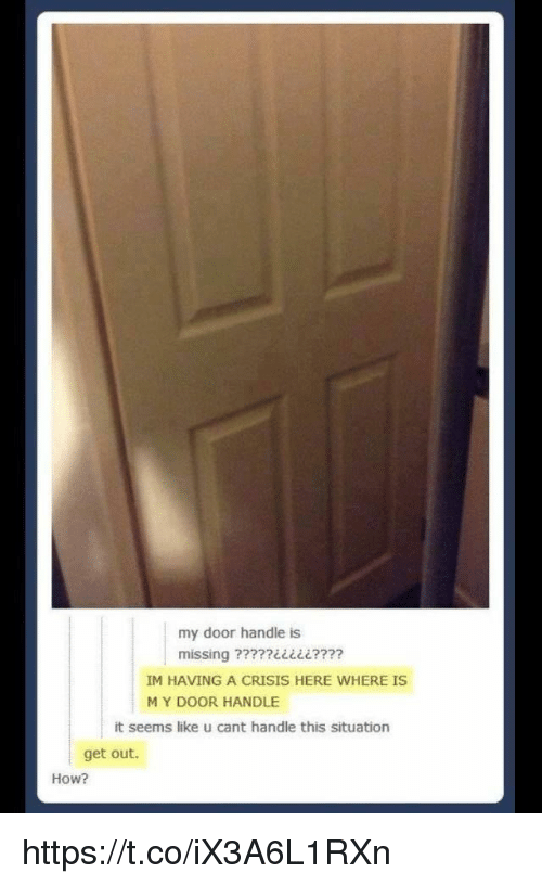 Memes, 🤖, and How: my door handle is  IM HAVING A CRISIS HERE WHERE IS  MY DOOR HANDLE  it seems like u cant handle this situation  get out  How? https://t.co/iX3A6L1RXn