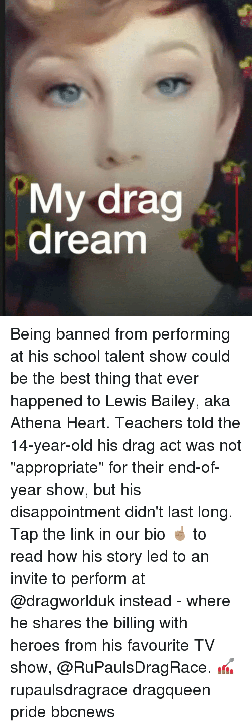 """Athena: My drag  dream Being banned from performing at his school talent show could be the best thing that ever happened to Lewis Bailey, aka Athena Heart. Teachers told the 14-year-old his drag act was not """"appropriate"""" for their end-of-year show, but his disappointment didn't last long. Tap the link in our bio ☝🏽 to read how his story led to an invite to perform at @dragworlduk instead - where he shares the billing with heroes from his favourite TV show, @RuPaulsDragRace. 💅🏾 rupaulsdragrace dragqueen pride bbcnews"""
