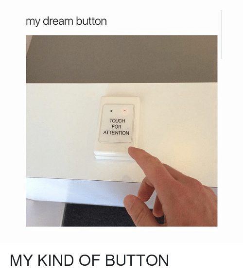 Girl Memes, Dream, and Touch: my dream button  TOUCH  FOR  ATTENTION MY KIND OF BUTTON