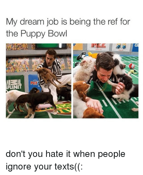 Ignorant, Puppies, and Bowling: My dream job is being the ref for  the Puppy Bowl  PETS  PLANET don't you hate it when people ignore your texts((: