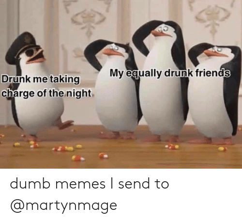 Drunk Friends: My equally drunk friends  Drunk me taking  charge of the night dumb memes I send to @martynmage