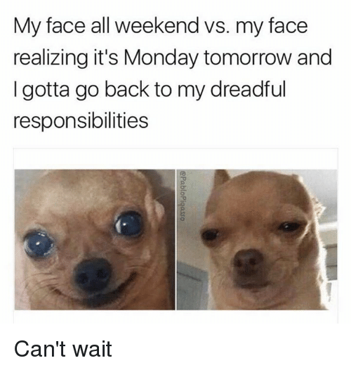 Monday Tomorrow: My face all weekend vs. my face  realizing it's Monday tomorrow and  I gotta go back to my dreadful  responsibilities Can't wait