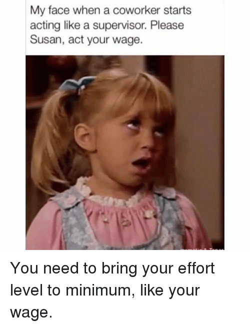 My Face When: My face when a coworker starts  acting like a supervisor. Please  Susan, act your wage. You need to bring your effort level to minimum, like your wage.