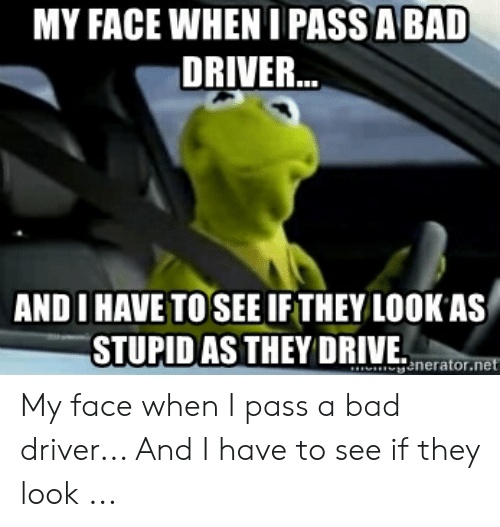 Bad Driver Meme: MY FACE WHEN I PASS A BAD  DRIVER  ANDI HAVE TO SEE IFTHEY LOOK AS  STURID AS THEYDIVEt  enerator My face when I pass a bad driver... And I have to see if they look ...