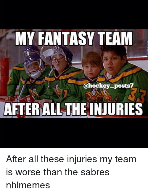 Hockey, National Hockey League (NHL), and All The: MY FANTASY TEAM  @hockey posts?  AFTER ALL THE INJURIES After all these injuries my team is worse than the sabres nhlmemes