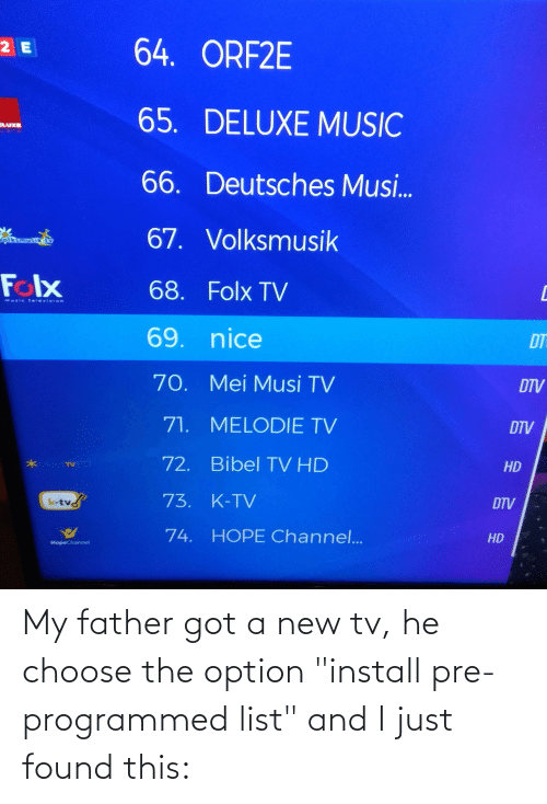 """New Tv: My father got a new tv, he choose the option """"install pre-programmed list"""" and I just found this:"""