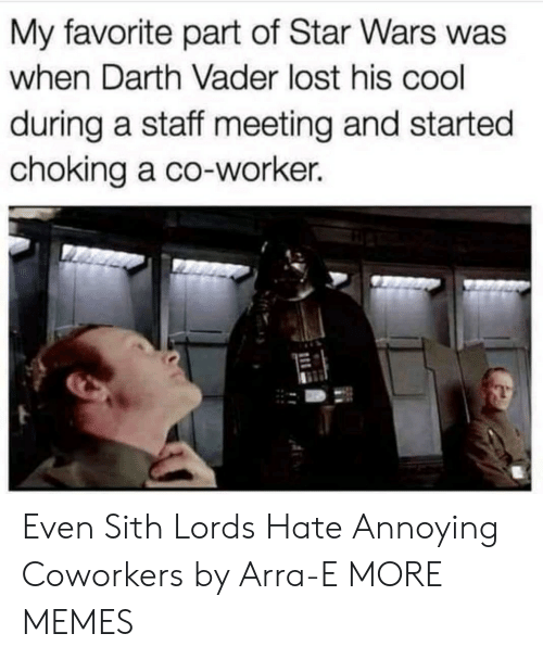Darth Vader: My favorite part of Star Wars was  when Darth Vader lost his cool  during a staff meeting and started  choking a co-worker. Even Sith Lords Hate Annoying Coworkers by Arra-E MORE MEMES