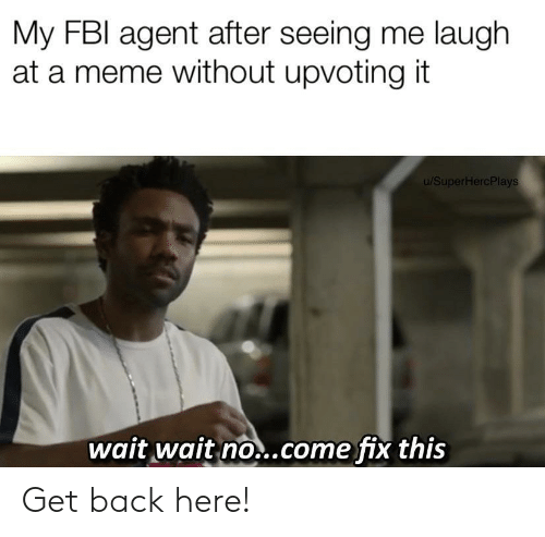 fbi agent: My FBI agent after seeing me laugh  at a meme without upvoting it  u/SuperHercPlays  wait wait no..come fix this Get back here!