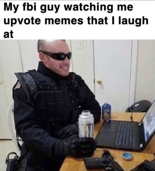 FBI: My fbi guy watching me  upvote memes that I laugh  at