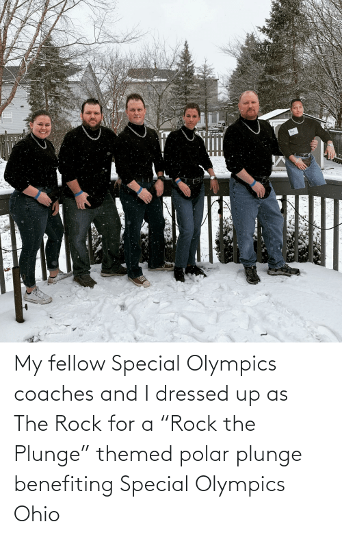 """Dressed Up: My fellow Special Olympics coaches and I dressed up as The Rock for a """"Rock the Plunge"""" themed polar plunge benefiting Special Olympics Ohio"""