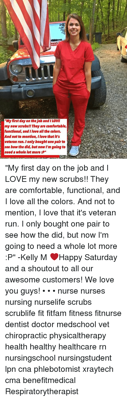 """Comfortable, Doctor, and Love: """"My first day on the job and I LOVE  my new scrubs!! They are comfortable,  functional, and I love all the colors.  And not to mention, I love that it's  veteran run. Ionly bought one pair to  see how the did, but now I'm going to  need a whole lot more :P"""" """"My first day on the job and I LOVE my new scrubs!! They are comfortable, functional, and I love all the colors. And not to mention, I love that it's veteran run. I only bought one pair to see how the did, but now I'm going to need a whole lot more :P"""" -Kelly M ❤️Happy Saturday and a shoutout to all our awesome customers! We love you guys! • • • nurse nurses nursing nurselife scrubs scrublife fit fitfam fitness fitnurse dentist doctor medschool vet chiropractic physicaltherapy health healthy healthcare rn nursingschool nursingstudent lpn cna phlebotomist xraytech cma benefitmedical Respiratorytherapist"""