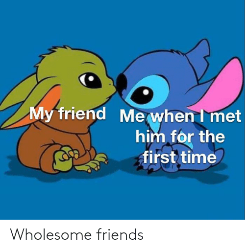 Me When I: My friend  Me when I met  him for the  first time Wholesome friends