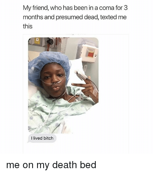 Bitch, Death, and Girl Memes: My friend, who has been in a coma for 3  months and presumed dead, texted me  this  I lived bitch me on my death bed