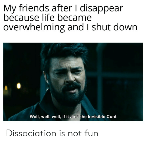 overwhelming: My friends after I disappear  because life became  overwhelming and I shut down  Well, well, well, if it ain't the Invisible Cunt Dissociation is not fun