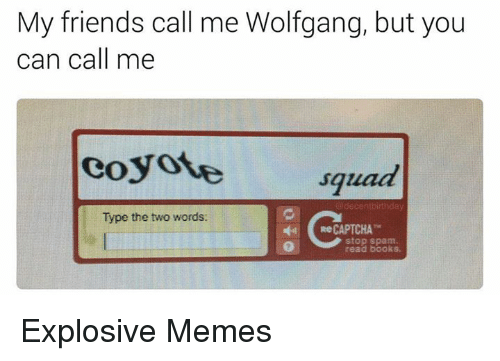 Captchas: My friends call me Wolfgang, but you  can call me  coyote squad  decentbirthday  Type the two words:  Re CAPTCHA  stop spam Explosive Memes