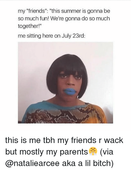 "Bitch, Friends, and Memes: my ""friends"". ""this summer is gonna be  so much fun! We're gonna do so much  together!""  me sitting here on July 23rd: this is me tbh my friends r wack but mostly my parents😤 (via @nataliearcee aka a lil bitch)"