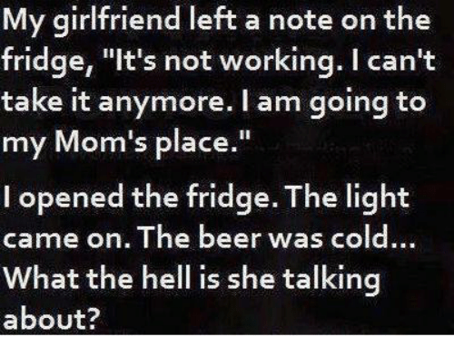 """Cant Take It: My girlfriend left a note on the  fridge, """"It's not working. I can't  take it anymore. I am going to  my Mom's place.""""  l opened the fridge. The light  came on. The beer was cold.  What the hell is she talking  about?"""