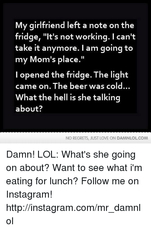 """I Cant Take It Anymore: My girlfriend left a note on the  fridge, """"It's not working. I can't  take it anymore. I am going to  my Mom's place.""""  l opened the fridge. The light  came on. The beer was cold...  What the hell is she talking  about?  NO REGRETS, JUST LOVE ON DAMNLOLCOM Damn! LOL: What's she going on about?  Want to see what i'm eating for lunch? Follow me on Instagram! http://instagram.com/mr_damnlol"""