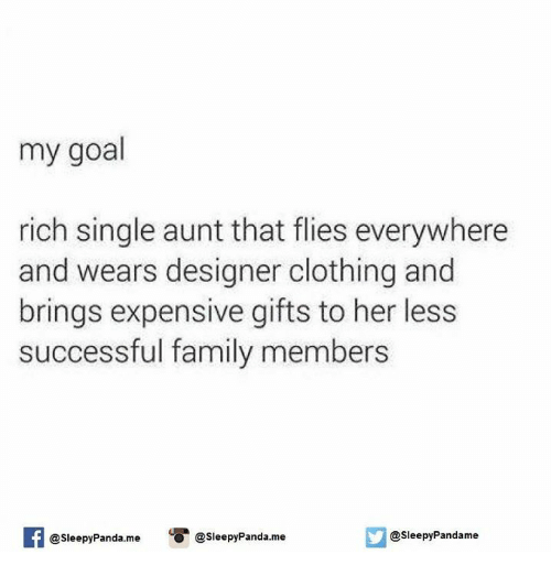 Clothes, Family, and Goals: my goal  rich single aunt that flies everywhere  and wears designer clothing and  brings expensive gifts to her less  successful family members  @sleepy Panda.me O @sleepy Panda. me  Sleepy Pandame