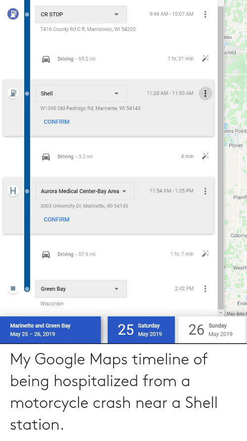 Motorcycle: My Google Maps timeline of being hospitalized from a motorcycle crash near a Shell station.