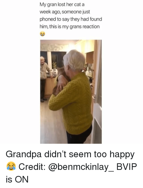 A Week Ago: My gran lost her cat a  week ago, someone just  phoned to say they had found  him, this is my grans reaction Grandpa didn't seem too happy 😂 Credit: @benmckinlay_ BVIP is ON