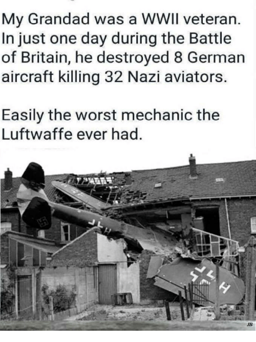 Aviators: My Grandad was a WWIl veteran.  In just one day during the Battle  of Britain, he destroyed 8 German  aircraft killing 32 Nazi aviators  Easily the worst mechanic the  Luftwaffe ever had  JB