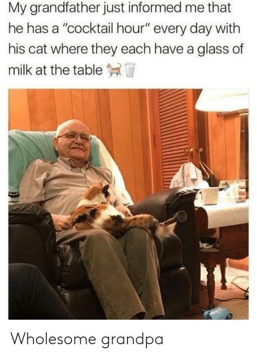 """cocktail: My grandfather just informed me that  he has a """"cocktail hour"""" every day with  his cat where they each have a glass of  milk at the table T Wholesome grandpa"""