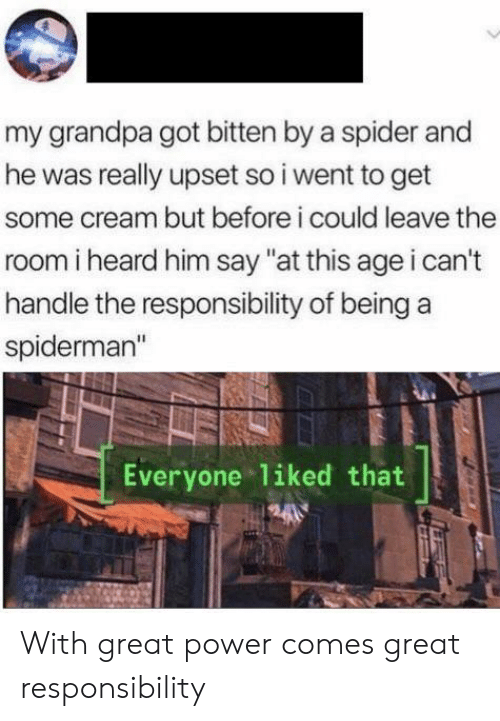 "bitten: my grandpa got bitten by a spider and  he was really upset so i went to get  some cream but before i could leave the  room i heard him say ""at this age i can't  handle the responsibility of being  spiderman""  Everyone liked that With great power comes great responsibility"