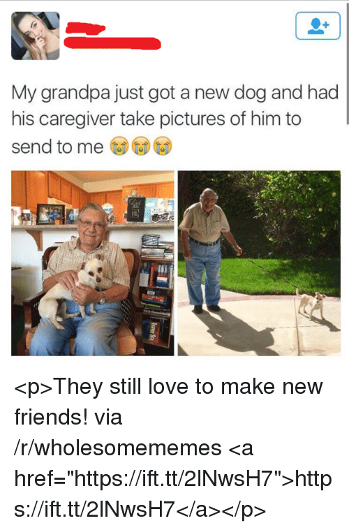 """Friends, Love, and Grandpa: My grandpa just got a new dog and had  his caregiver take pictures of him to  send to me <p>They still love to make new friends! via /r/wholesomememes <a href=""""https://ift.tt/2lNwsH7"""">https://ift.tt/2lNwsH7</a></p>"""