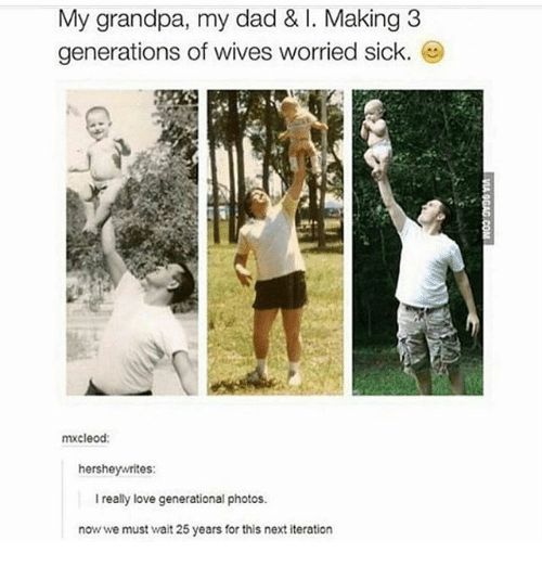 Dad, Ironic, and Love: My grandpa, my dad & I. Making 3  generations of wives worried sick.  Gb  mxcleod:  hersheywrites  Ireally love generational photos.  now we must wait 25 years for this next iteration