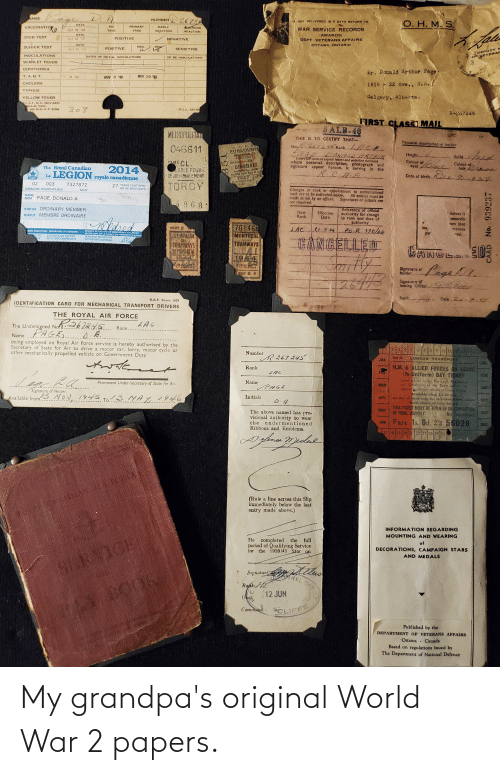 World War 2: My grandpa's original World War 2 papers.